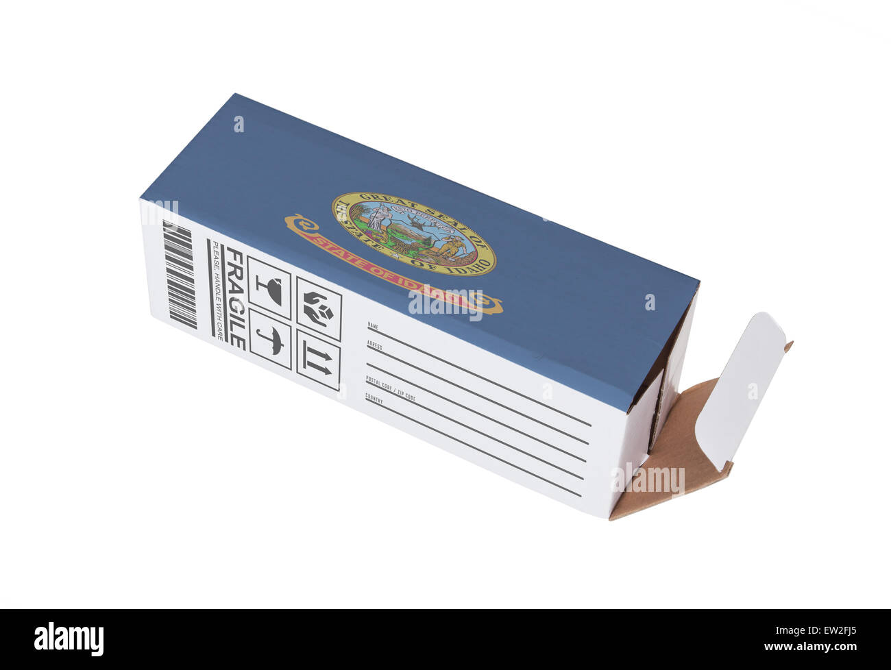 Concept of export, opened paper box - Product of Idaho - Stock Image