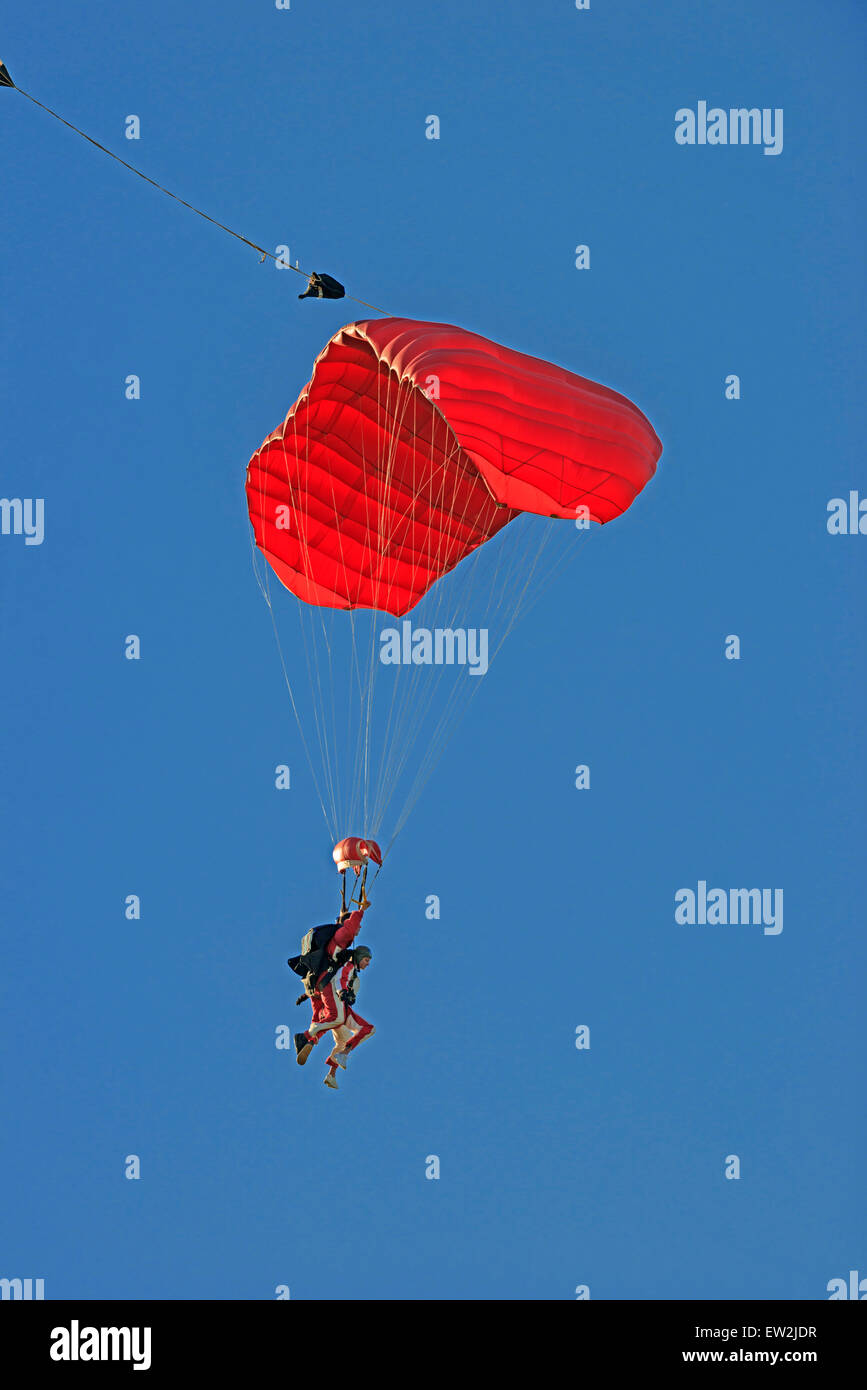 Tandem Paraglider in flight, Abel Tasman National Park, Nelson, South Island, New Zealand - Stock Image