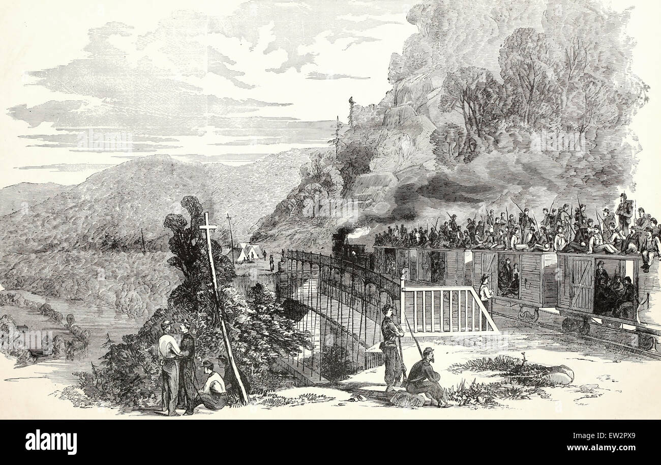 The Sixteenth Regiment, Ohio Volunteers under Colonel Irwine, crossing the tray run viaduct, near Cheat River, on - Stock Image