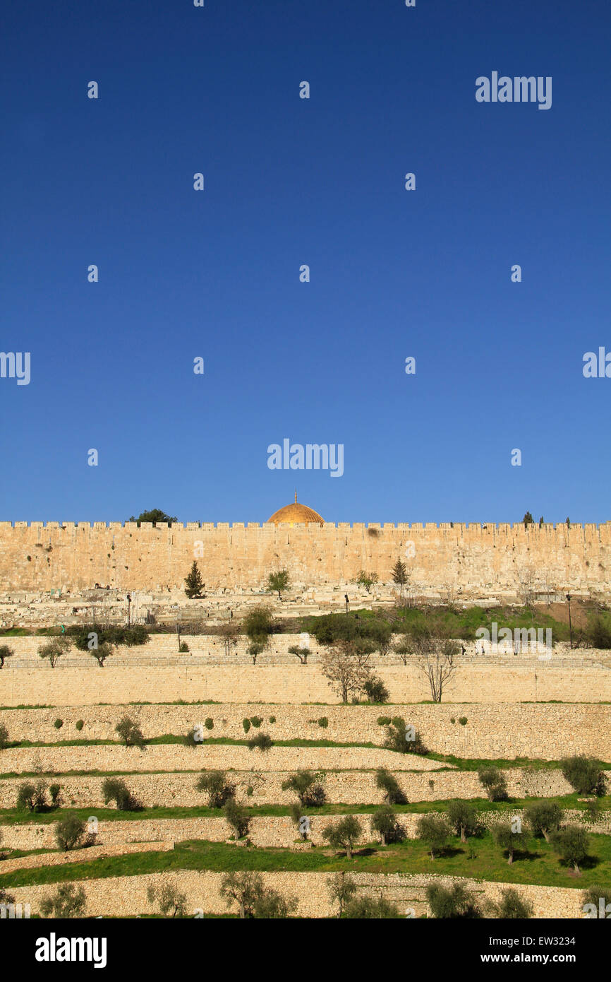Israel, Jerusalem, a view of Kidron valley and Temple Mount's wall Stock Photo