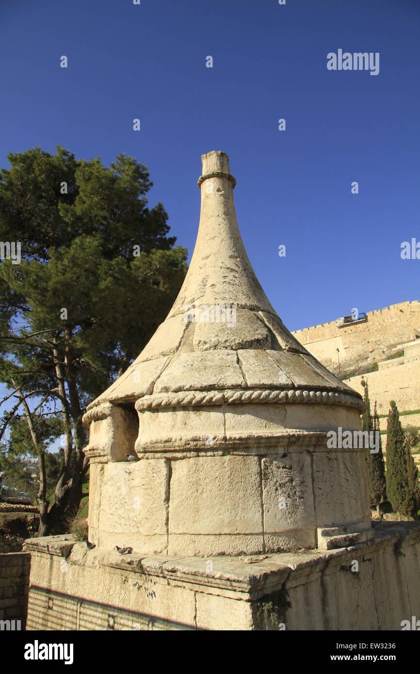 Israel, Jerusalem, Absalom's Tomb in Kidron valley Stock Photo