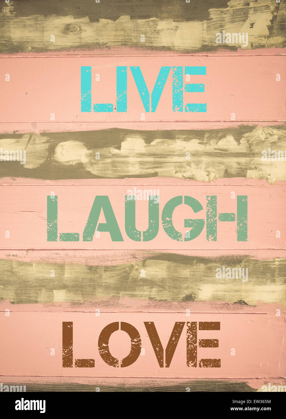 Concept image of LIVE LAUGH LOVE motivational quote written on Stock ...