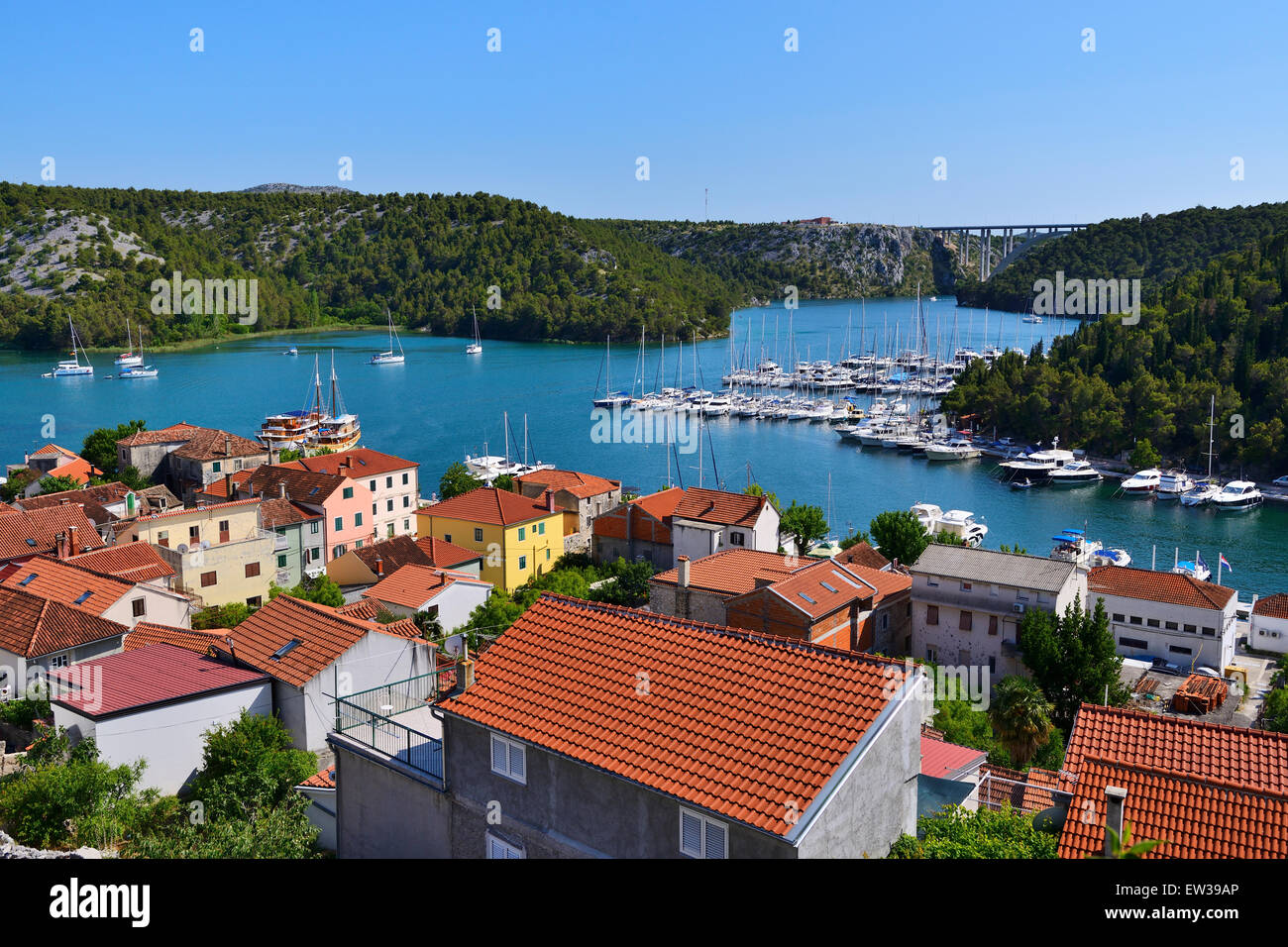 View of town of Skradin and marina on Krka River from view point - Dalmatian Coast of Croatia Stock Photo