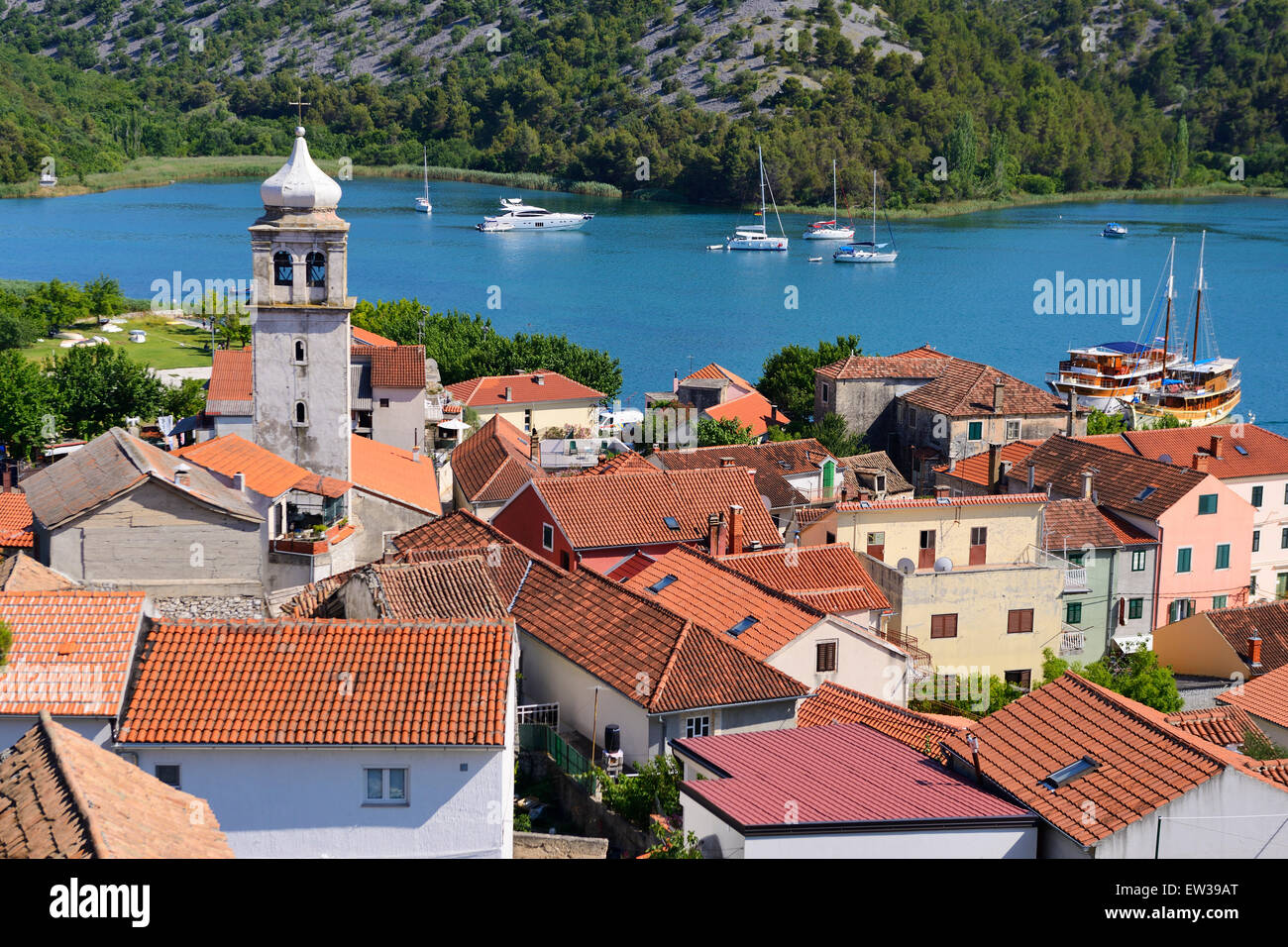View of town of Skradin and Krka River from view point - Dalmatian Coast of Croatia Stock Photo