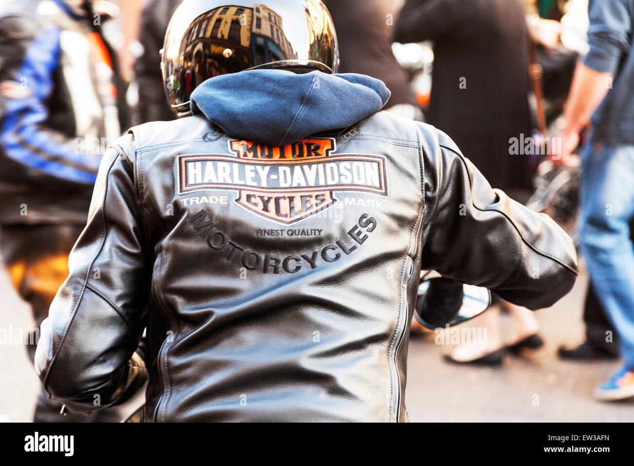 Harley Davidson sign motor bike leather jacket worn by biker gang member motorbike gangs members motorbikes motor - Stock Image