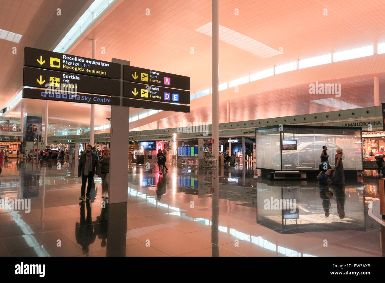 Interior of Prat Airport on May 5, 2015 in Barcelona, Spain. Since 2013, El Prat-Barcelona is the busiest airport - Stock Image