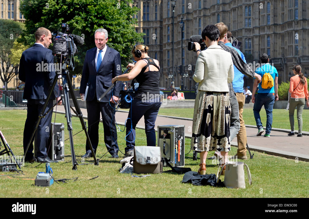 David Anderson Q.C. current  Independent Reviewer of Terrorism Legislation, being interviewed at Westminster on - Stock Image