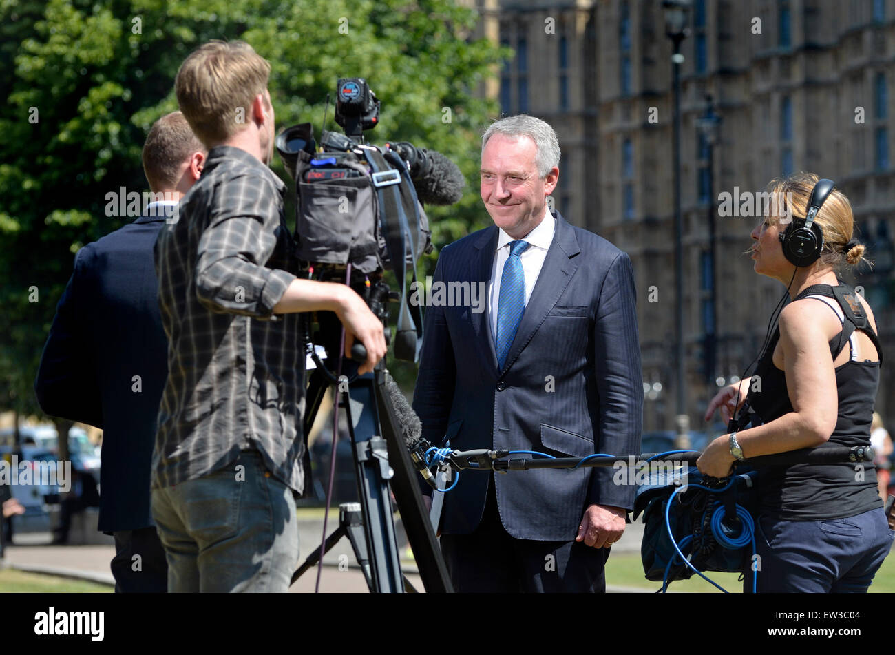 David Anderson Q.C. current  Independent Reviewer of Terrorism Legislation, being interviewed at Westminster, 2015 - Stock Image