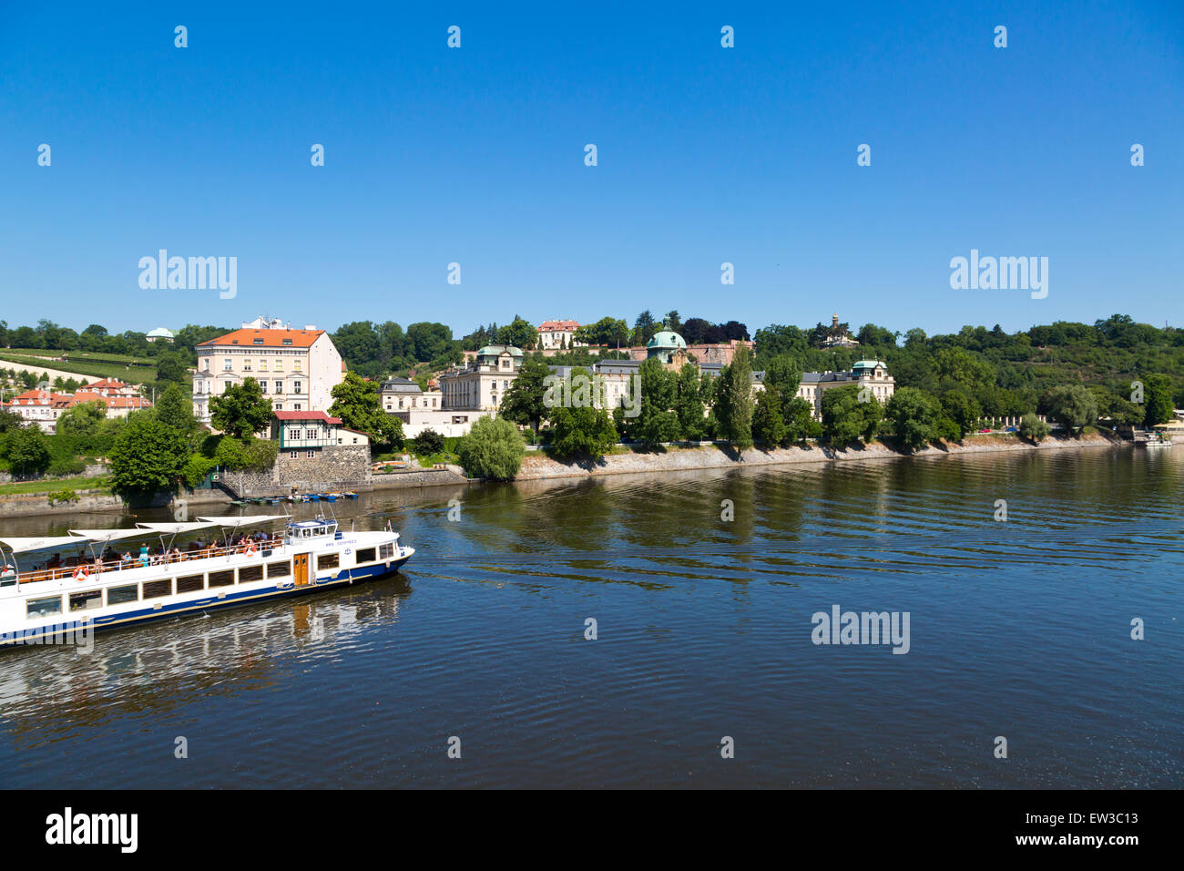 View over the River Moldau in Prague, Czechia - Stock Image