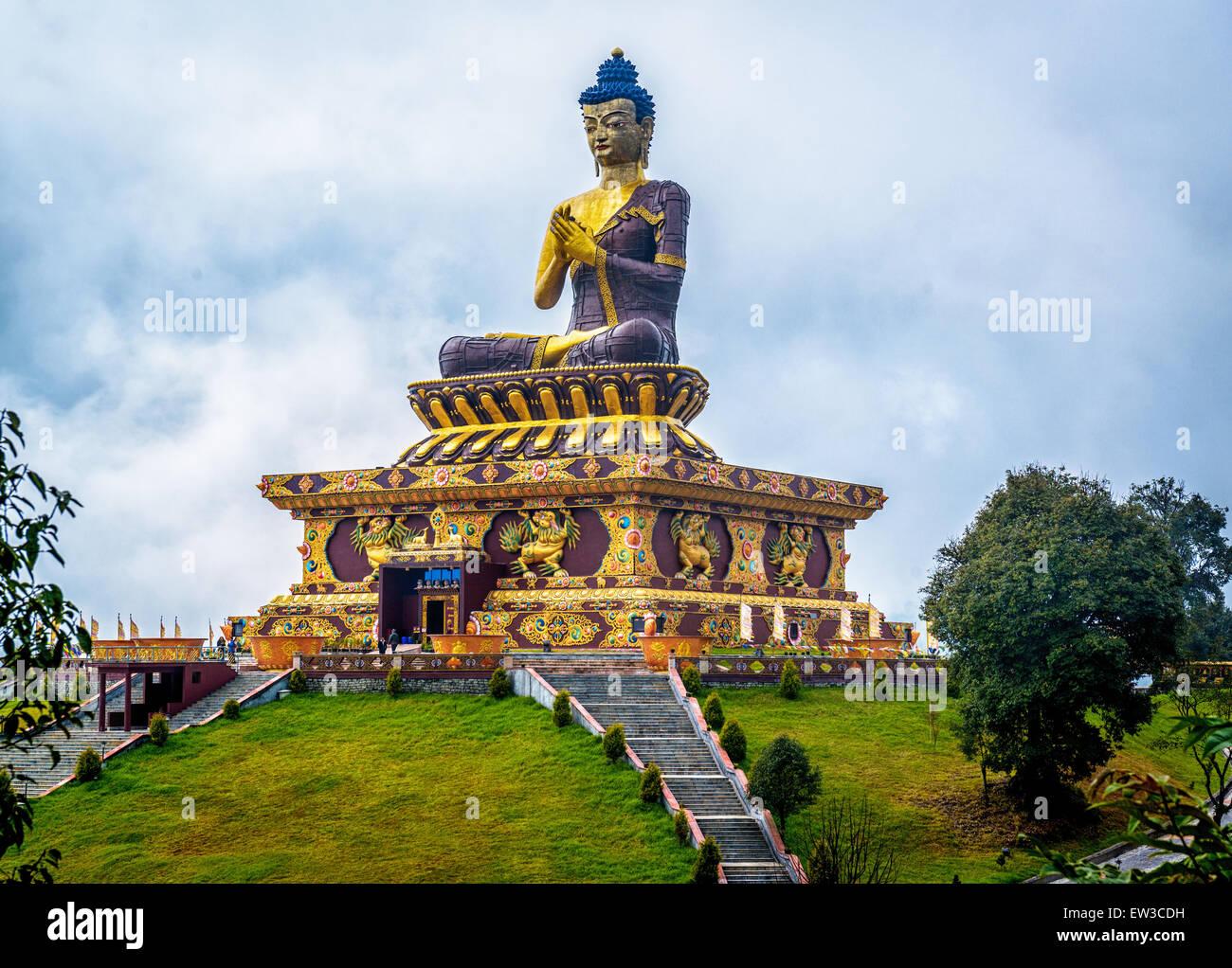 giant Buddha statue at Ravangla, Sikkim, India. - Stock Image
