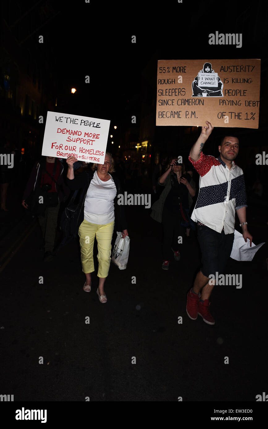 Anti-austerity protesters march in Dean Street in Soho  Where: London, United Kingdom When: 15 Apr 2015 C - Stock Image