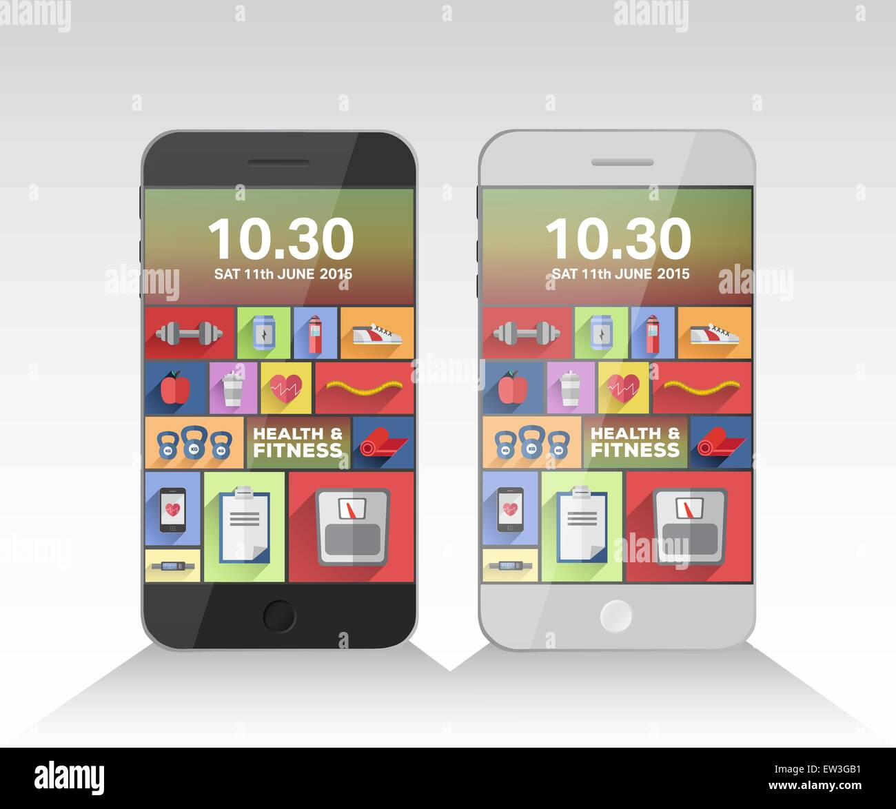 Digitally generated applications on two smartphones Stock Vector