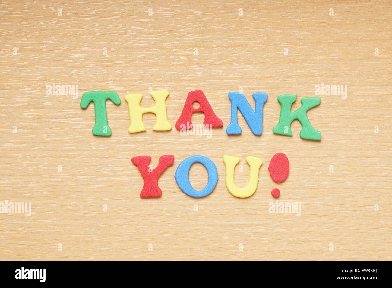 thank you in foam rubber letters - Stock Image