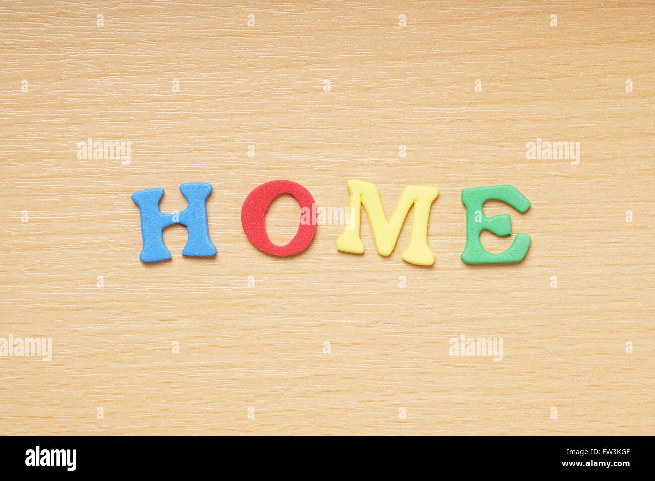 home in foam rubber letters - Stock Image
