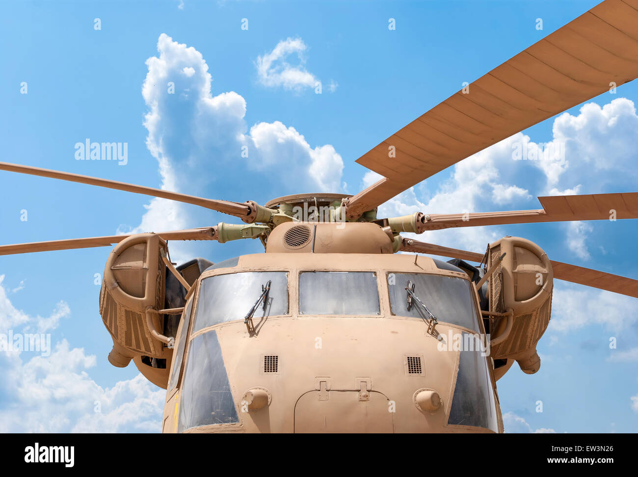 Details of the rotor and part of the body of modern military helicopters closeup - Stock Image