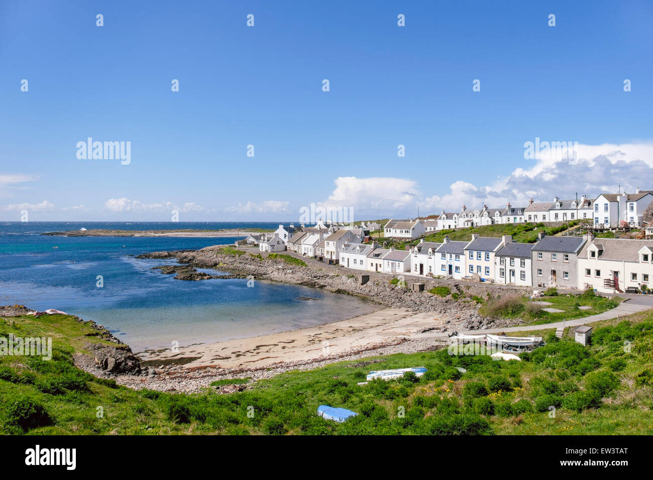 Traditional white cottages around harbour in Islay village of Portnahaven Isle of Islay Argyll & Bute Inner - Stock Image