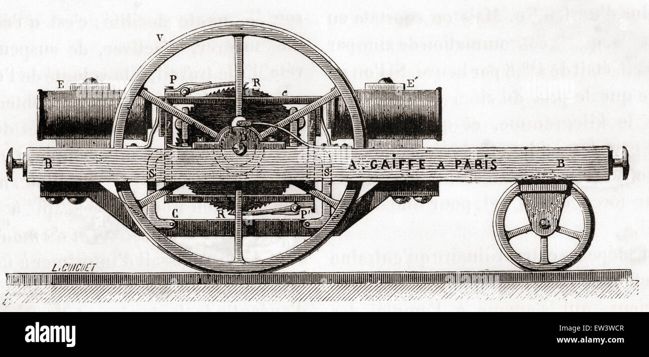 An electric motor invented by Ladislas Adolphe Gaiffe, 1832-1887 - Stock Image