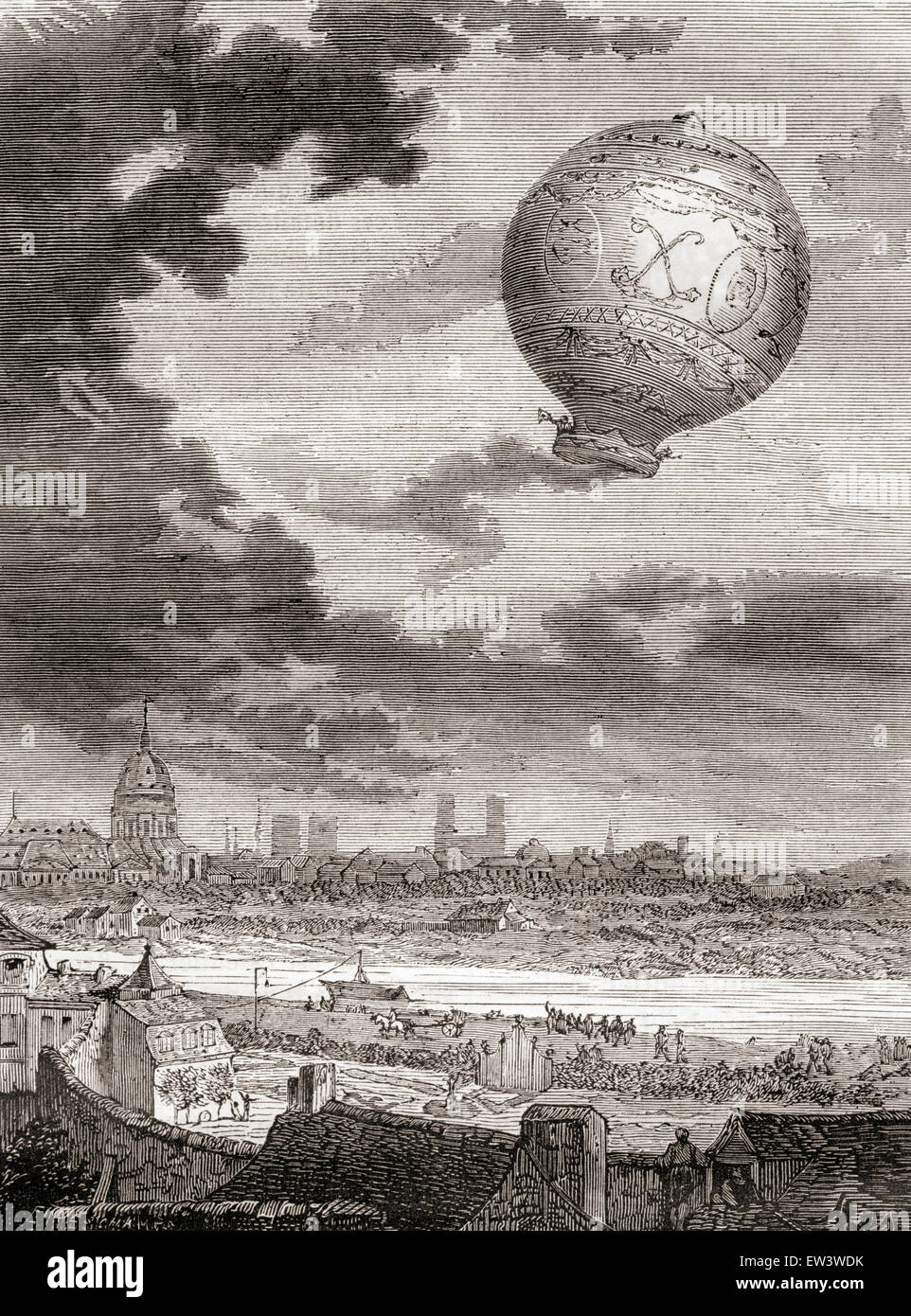 The first untethered balloon flight, by Jean-François Pilâtre de Rozier and the Marquis d'Arlandes on 21 November Stock Photo