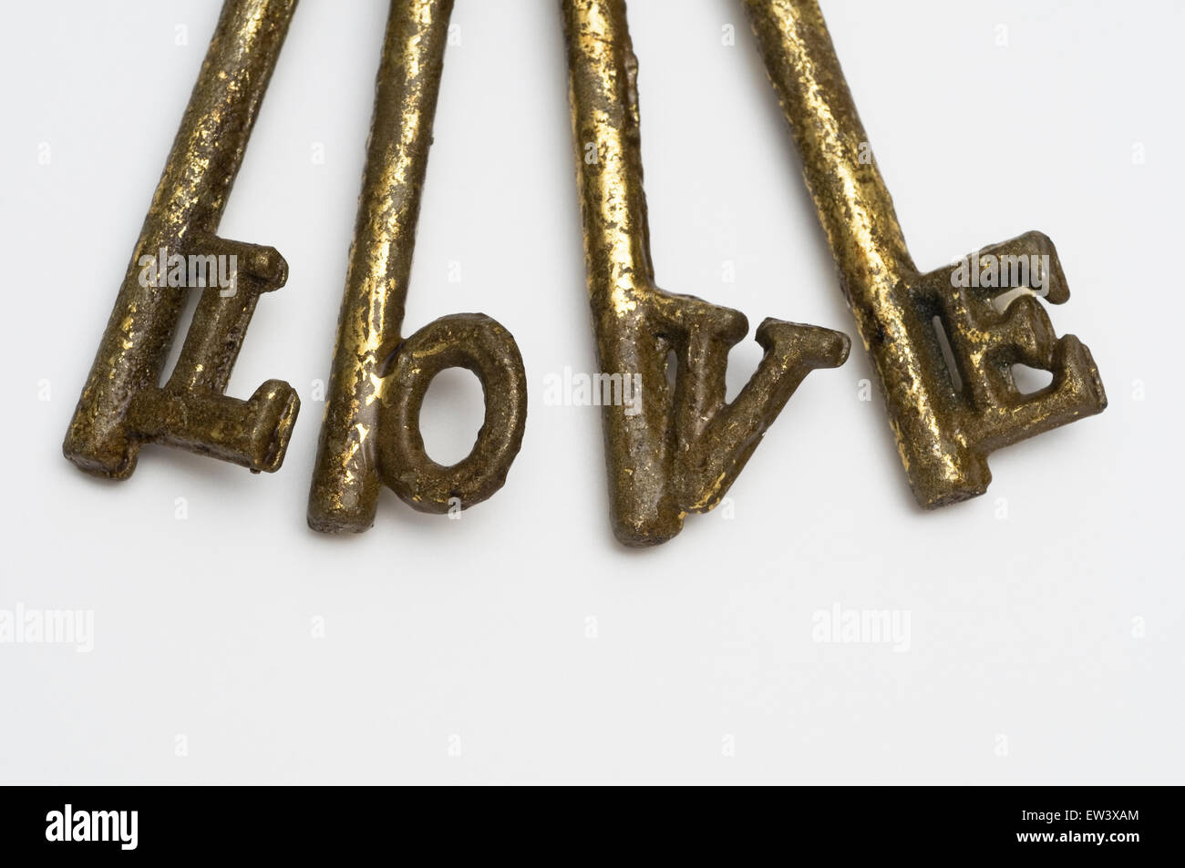 Love word made with keys - Stock Image