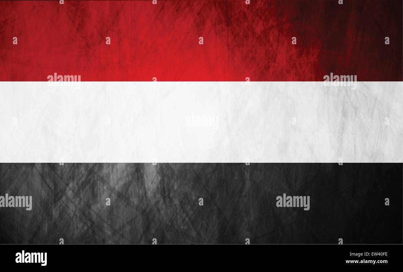 Republic of Yemen grunge flag. Vector background - Stock Vector