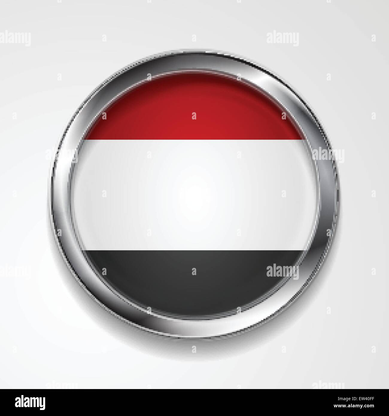 Republic of Yemen metal button flag. Vector design - Stock Vector