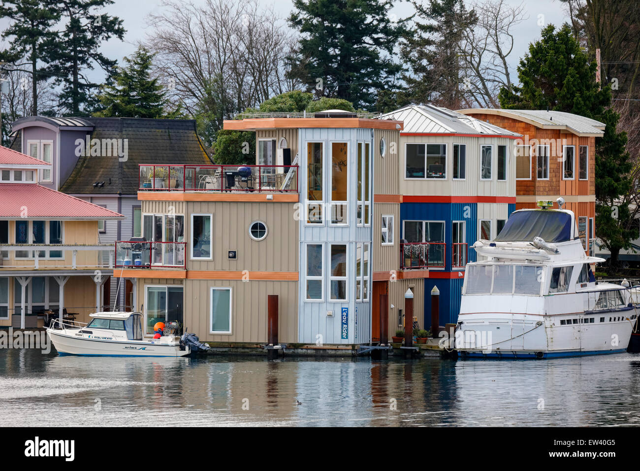 Floating homes at Westbay-Esquimalt, British Columbia, Canada - Stock Image
