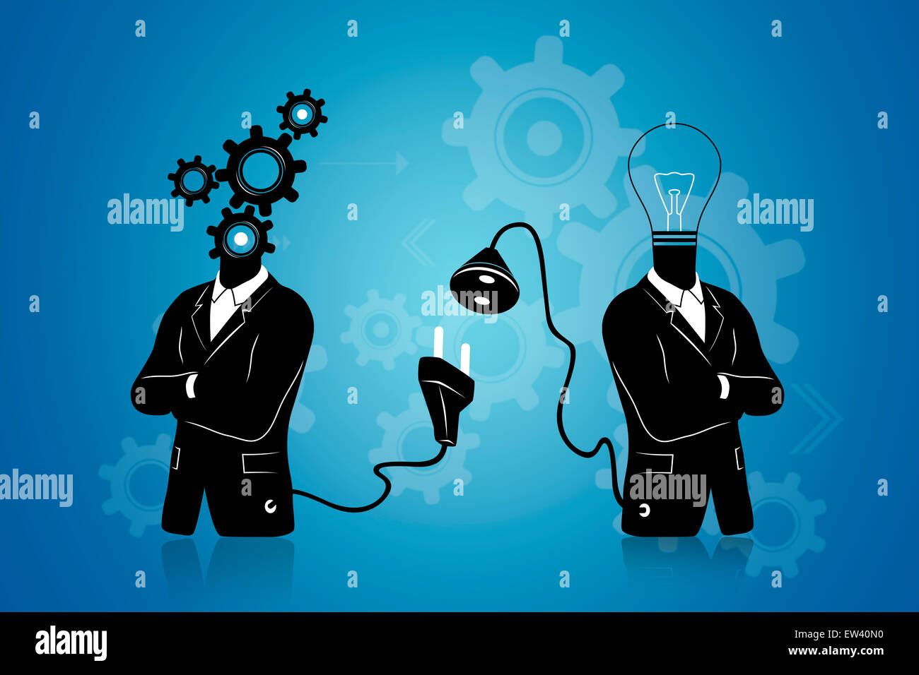 Concept of searching for / connecting to Idea. Businessman with gears connecting to businessman with light bulb. Stock Photo