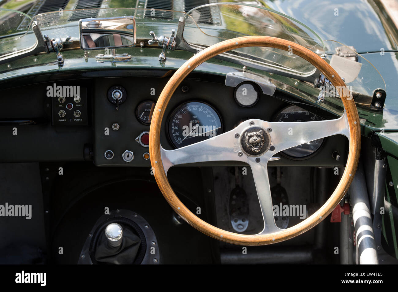 Vintage Jaguar C Type Interior At Classic Car Show In The Cotswolds.  Broadway, Worcestershire