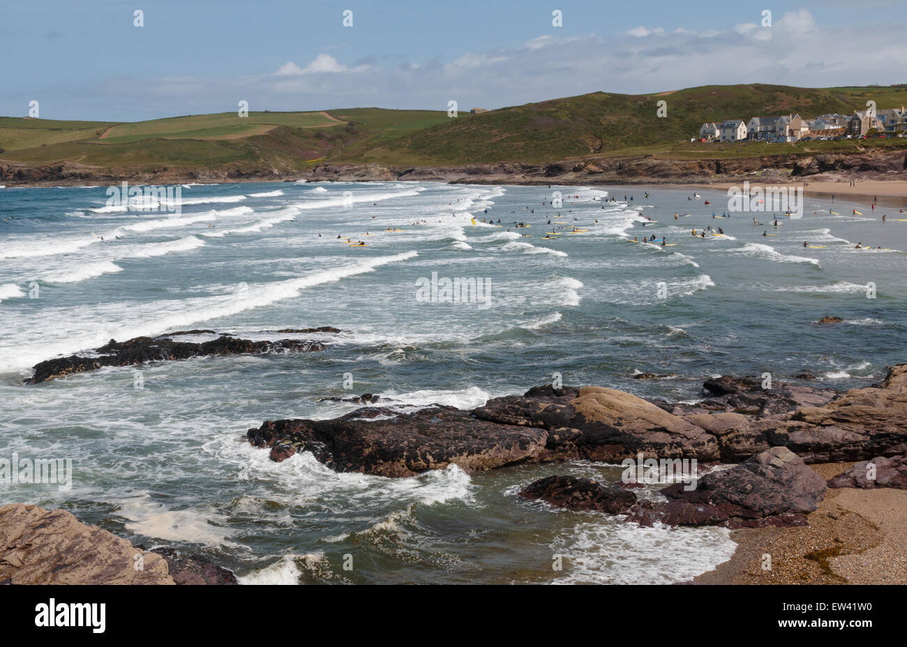 Polzeath with its atlantic waves is one of the top surfing beaches in the UK - Stock Image