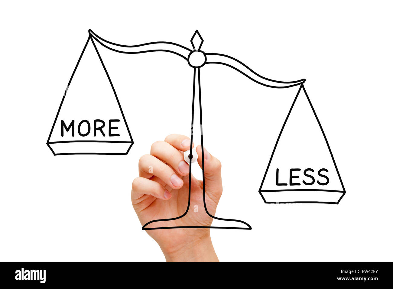 Hand drawing Less is More scale concept with black marker on transparent wipe board isolated on white. - Stock Image