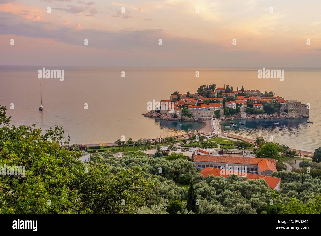 Luxery tourism ressort, peninsula Sveti Stefan, Montenegro, Sveti Stefan - Stock Image