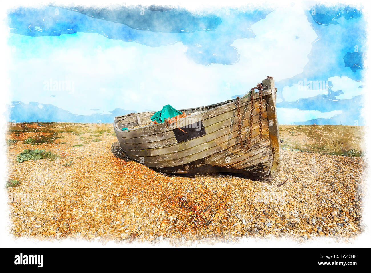 Watercolour painting of an old weathered wooden fishing boat on a pebble beach under a blue sky - Stock Image