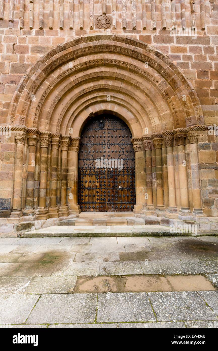 Door to the church of Santa Maria de Veruela at the Royal Cistercian monastery of the same name - Stock Image