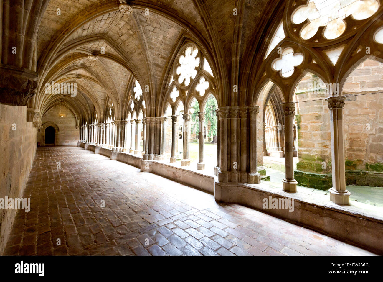 Cloisters in the Royal Cistercian monastery of Santa Maria de Veruela - Stock Image