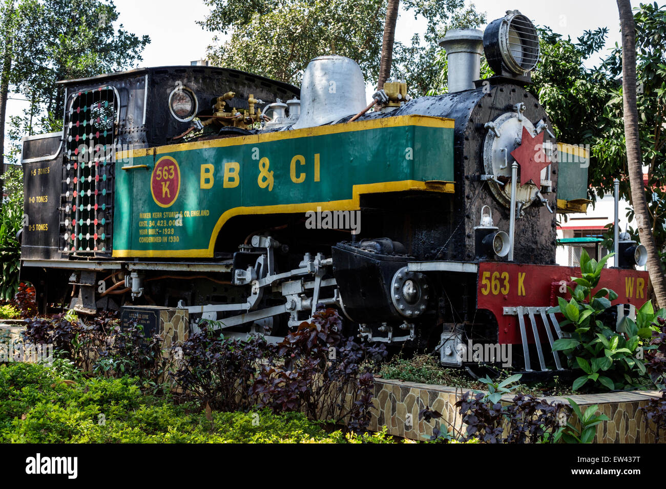 Mumbai India Indian Asian Mumbai Central Railway Station train Western Line Little Red Horse narrow gauge locomotive - Stock Image