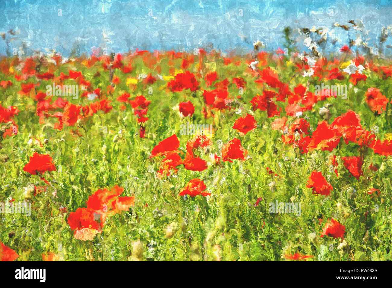 Abrstract painting of bright red Poppies in a field - Stock Image