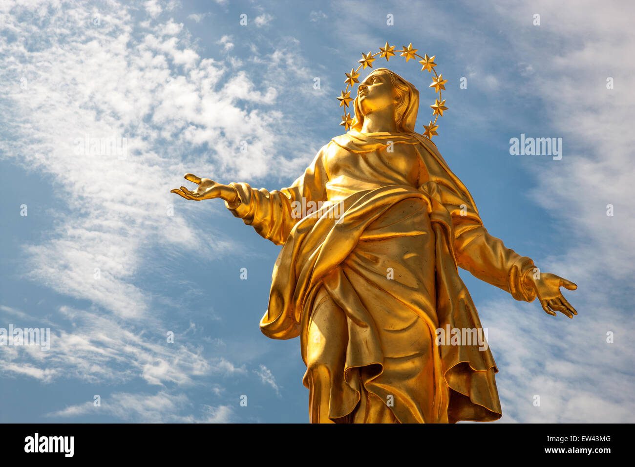 Milan, Duomo , Madonna, cathedral, church, statue, gold, religion, Italian, - Stock Image