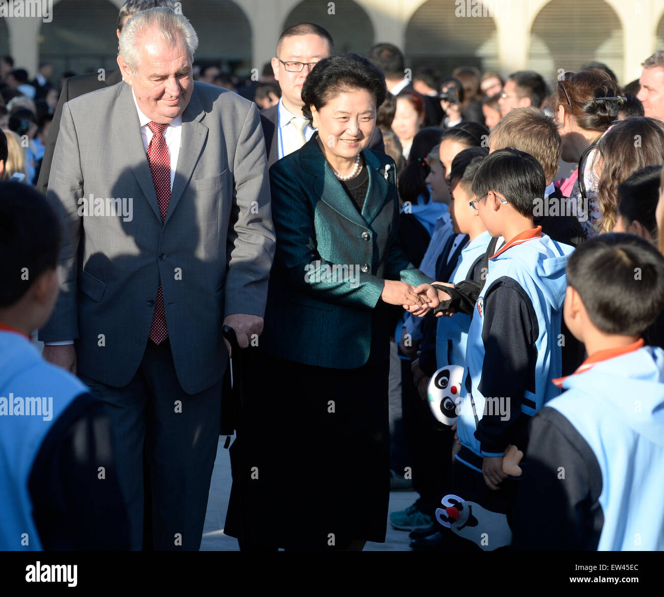 Czech president Milos Zeman, left, and Chinese Vice-Premier Liu Yandong, right, attend screening of the new TV serie - Stock Image