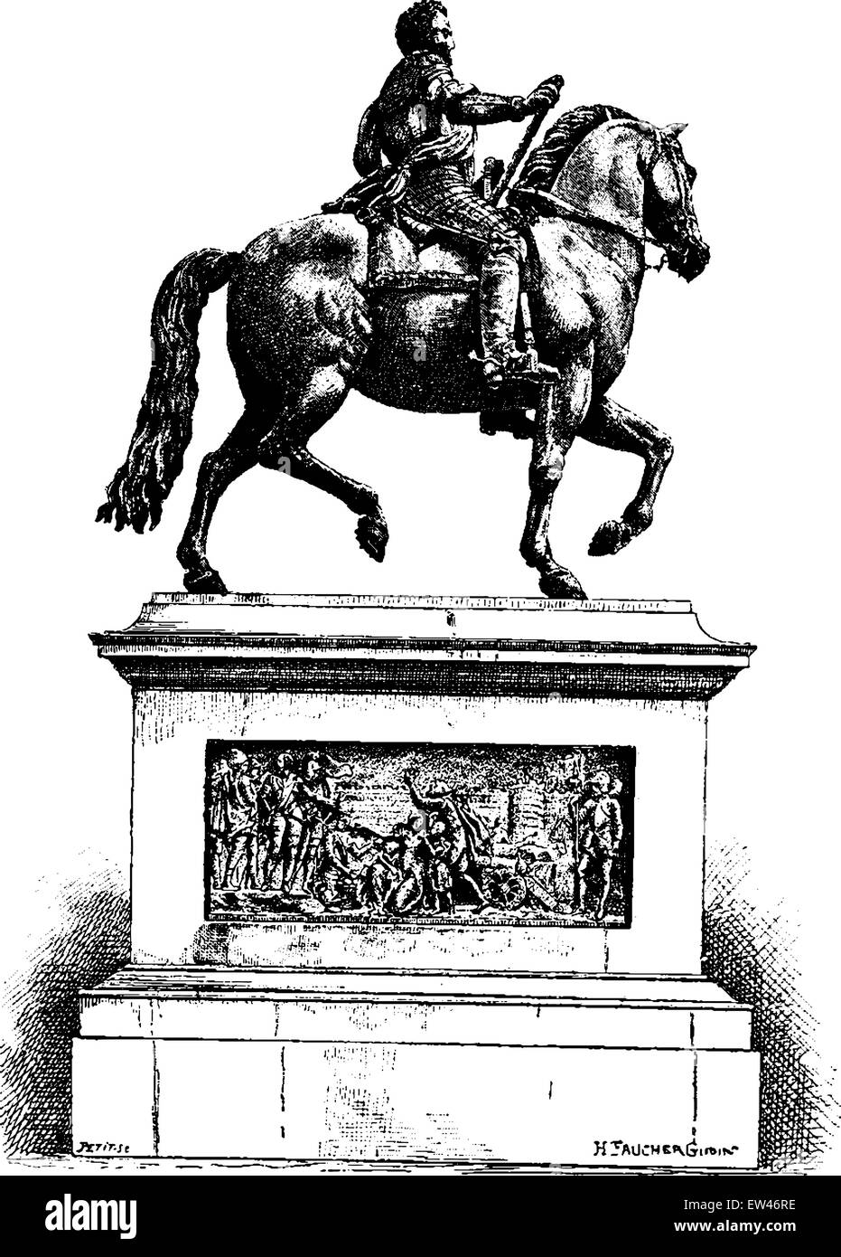 Statue of Henri IV on the Pont Neuf, vintage engraved illustration. Paris - Auguste VITU – 1890. - Stock Vector