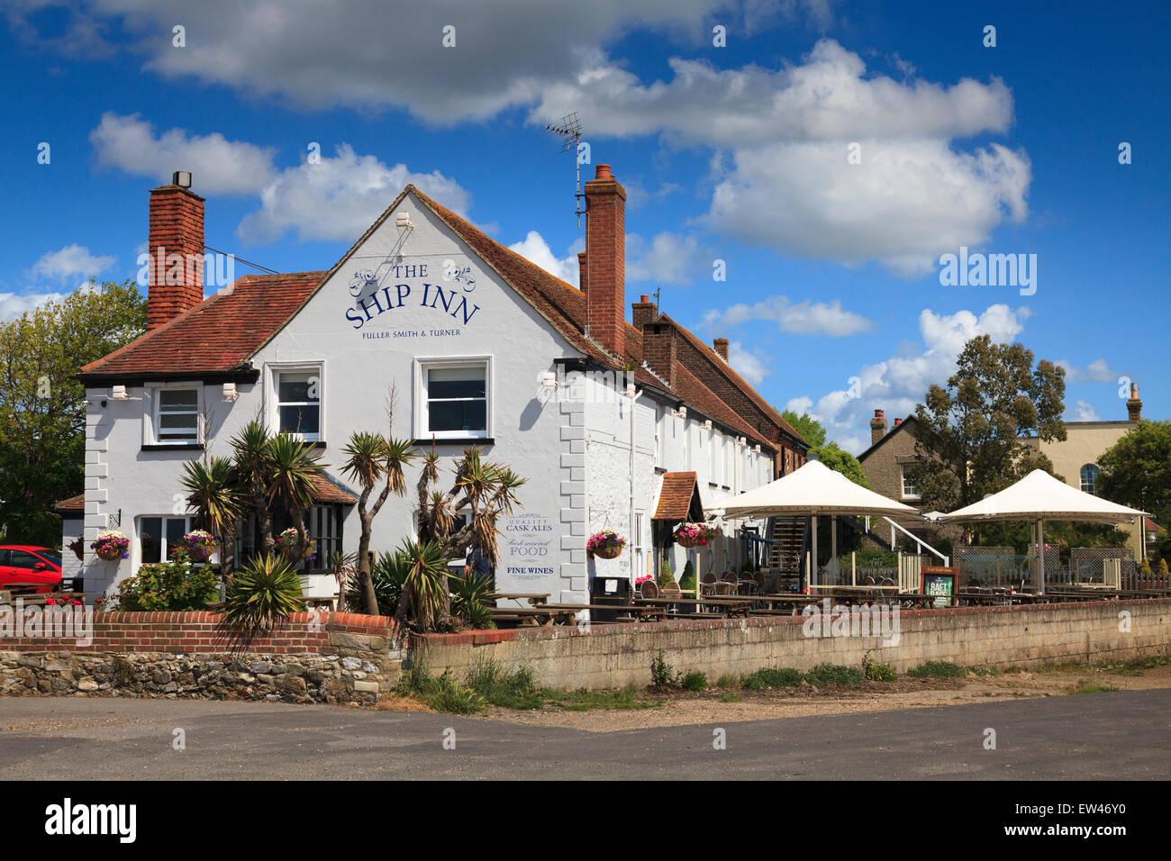 The Ship Inn at Langstone on a sunny day without people Stock Photo
