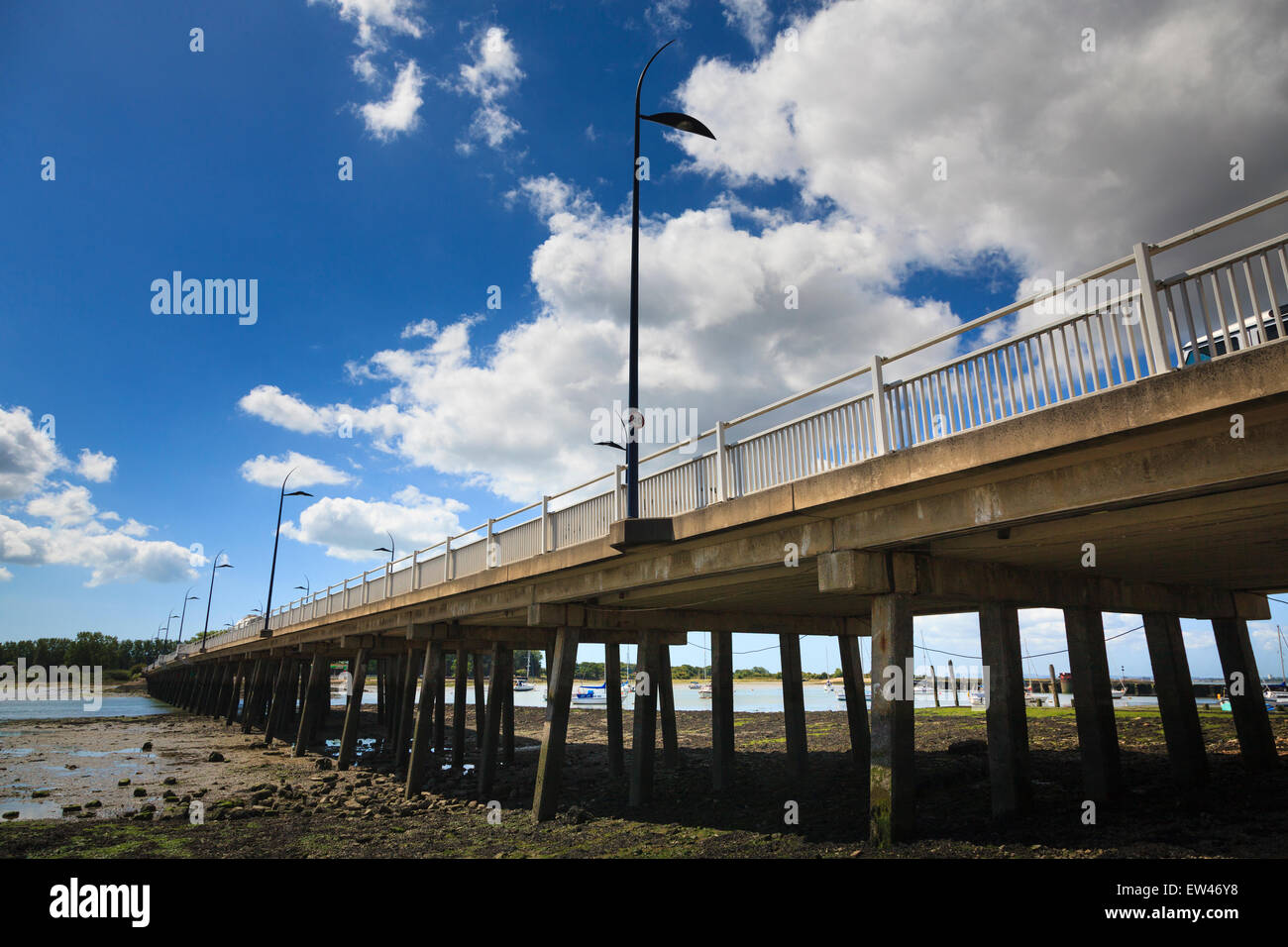 The struts supporting Langstone Bridge from below on a sunny day - Stock Image