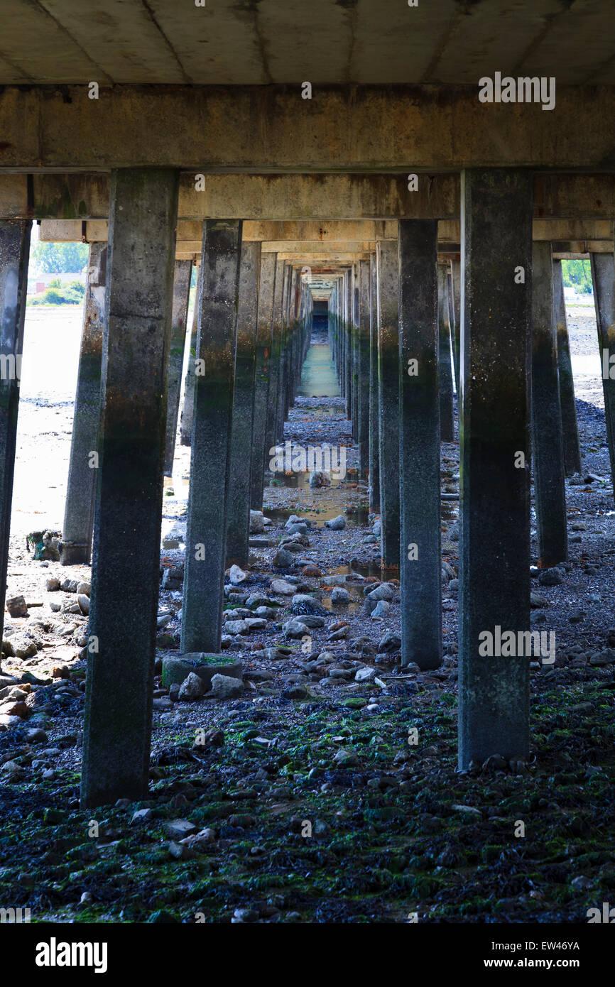 Struts supporting Langstone Bridge from below - Stock Image