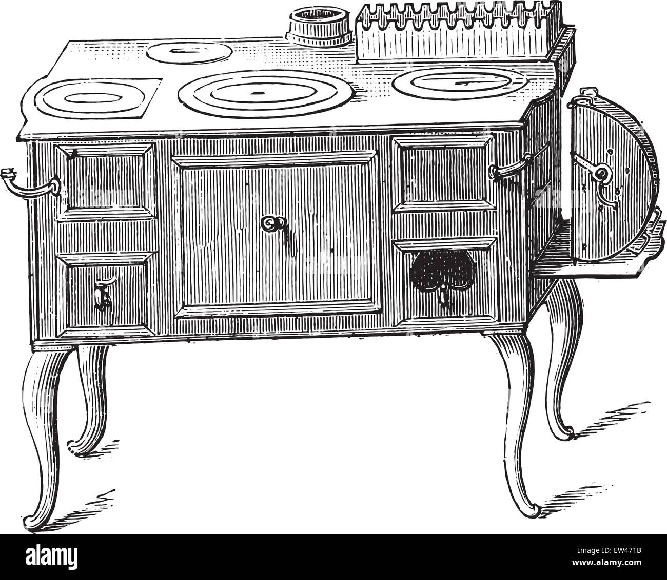 Economic stove, vintage engraved illustration. - Stock Vector