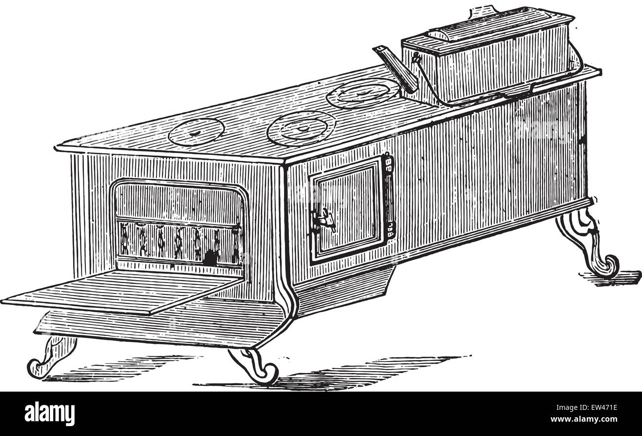Great restaurant stove, vintage engraved illustration. - Stock Vector