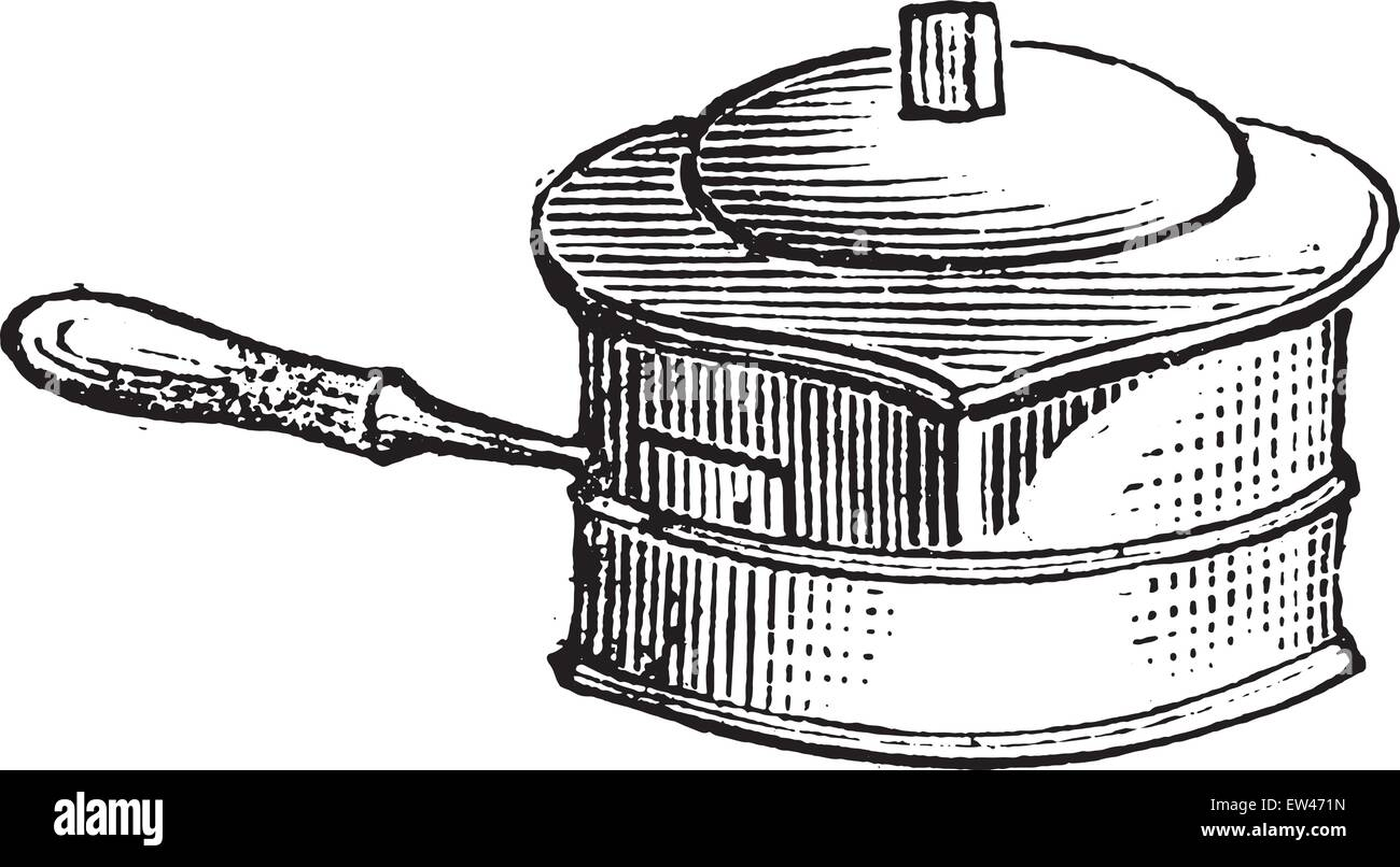 Casserole for liquid cooking on the stove for lunch, vintage engraved illustration. - Stock Vector