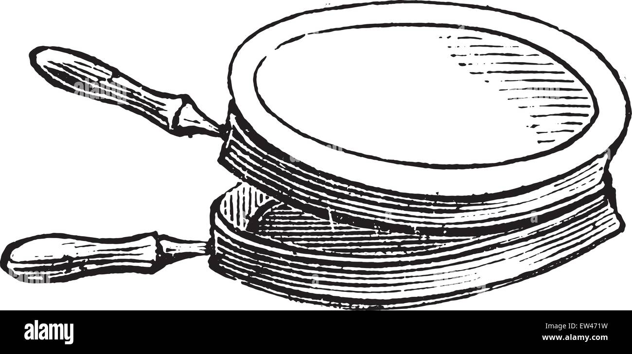 Pan for cooking chops on the stove for lunch, vintage engraved illustration. - Stock Vector