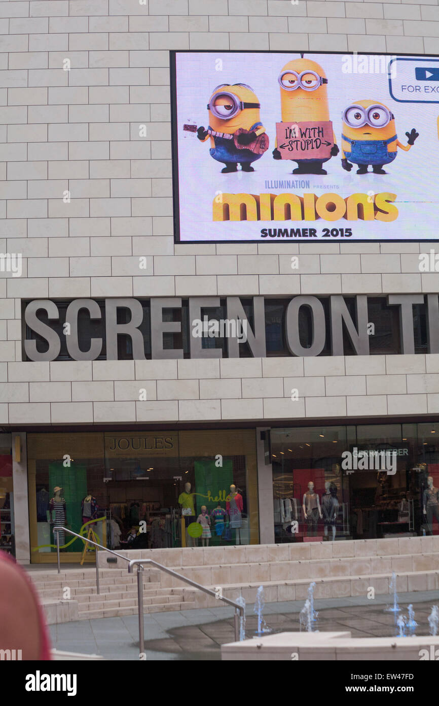Minions film being advertised at Screen on the Square, Brewery Square, Dorchester South, Dorset in June - Stock Image