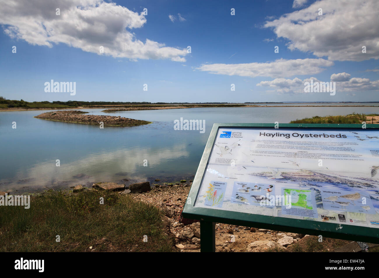 Hayling Island old disused Oyster Beds with information sign about wading birds and wildfowl Stock Photo