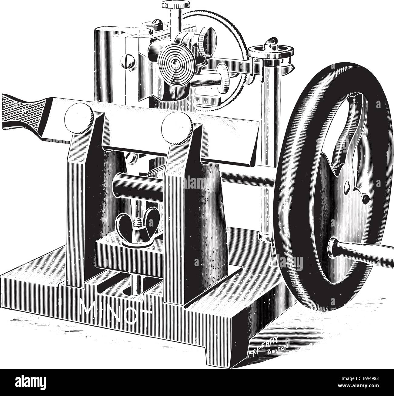 Microtome, vintage engraved illustration. - Stock Vector