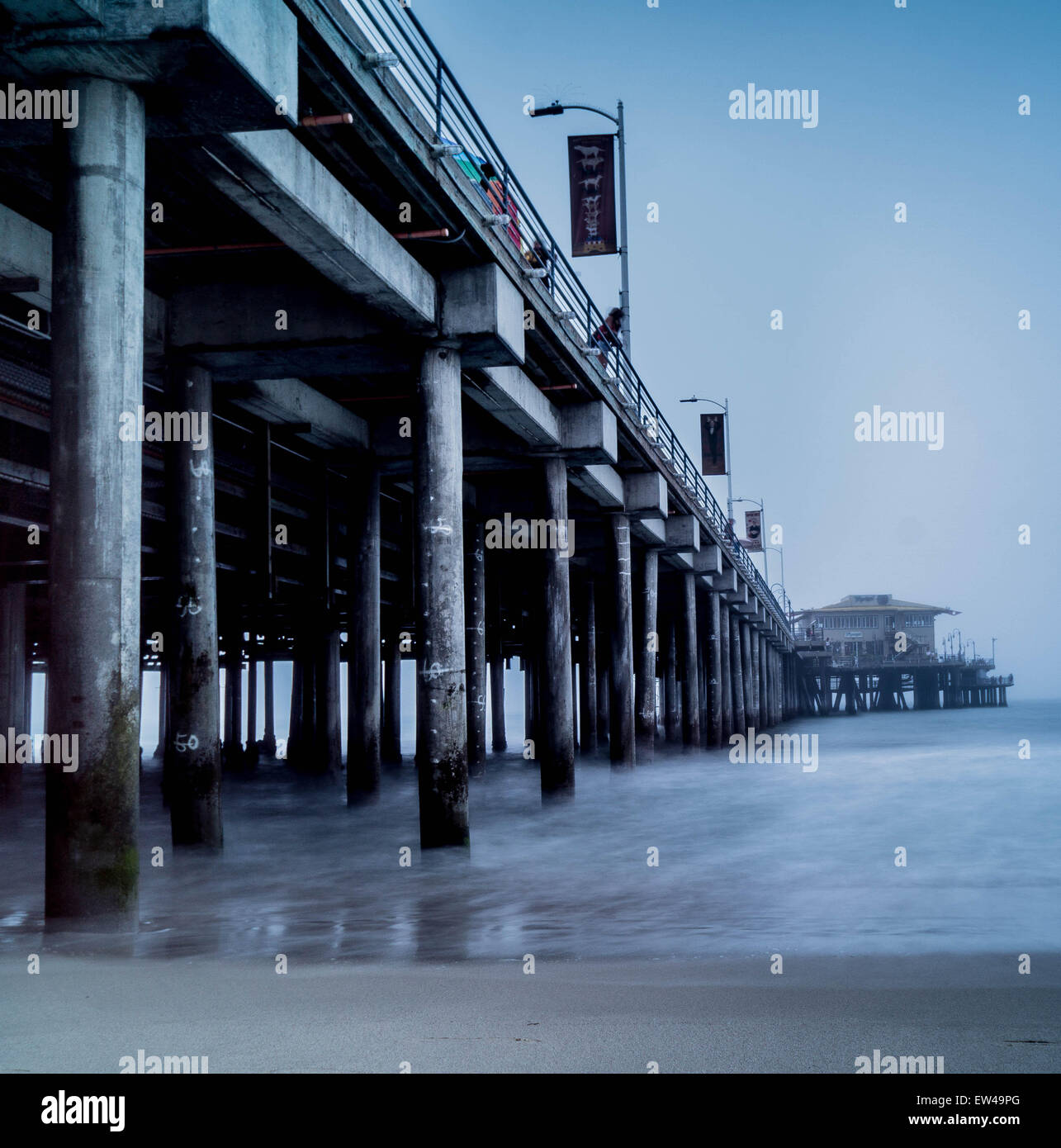 Santa Monica pier using an ND filter - Stock Image